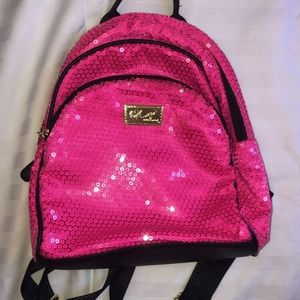 Betsey Johnson pink sparkly mini backpack